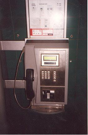 "A payphone in the tube (so you can phone someone between tudes that come every 5 minutes).</BR></BR><span class=""date-display-single"" property=""dc:date"" datatype=""xsd:dateTime"" content=""1997-09-23T00:00:00+00:00"">Sep 23, 1997</span>"